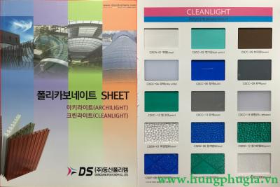 Tấm Lợp Lấy Sáng Polycarbonate Đặc Ruột-Hàn Quốc